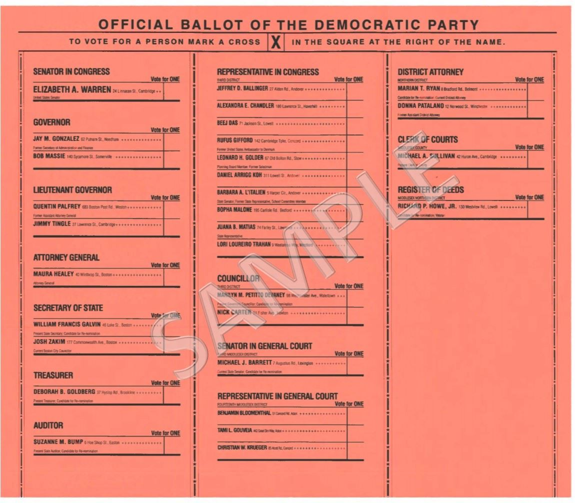 Democratic Ballot SAMPLE 9-4-2018