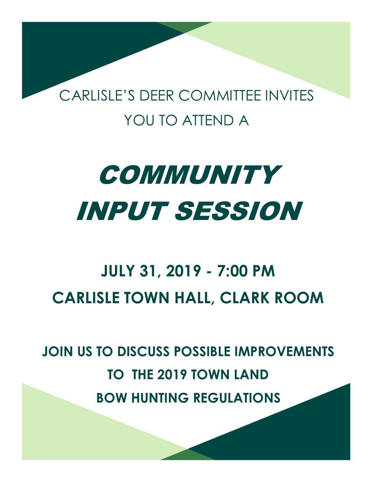 Deer Committee Public Input Session 7-31-2019