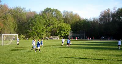 Spalding field is used for soccer and baseball simultaneously.